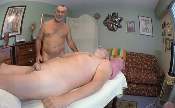 Jerk Off while Daddy Russ Gives Alpha Axxxel a Massage